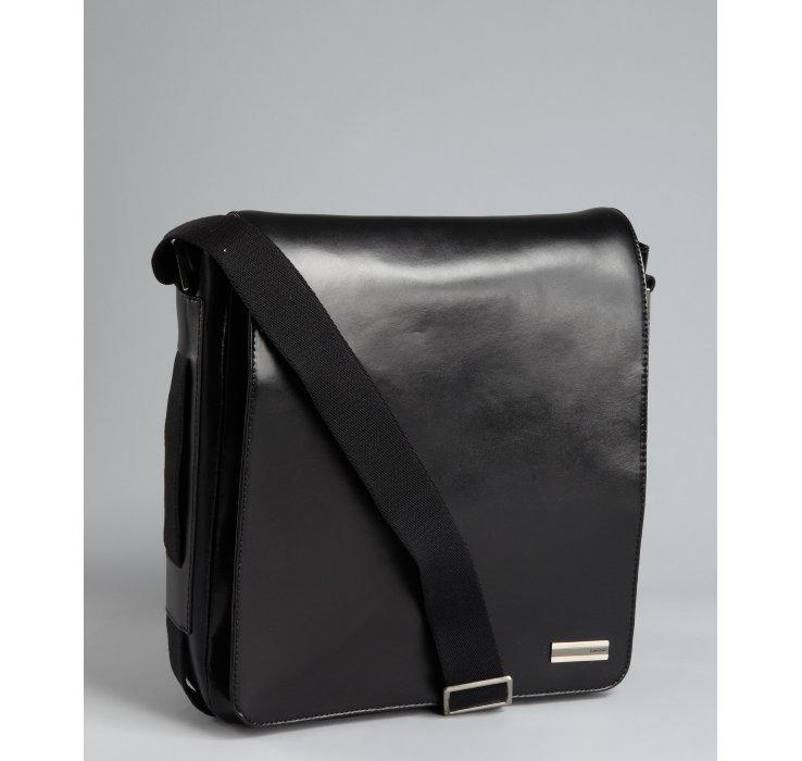 calvin klein black leather north south messenger bag in