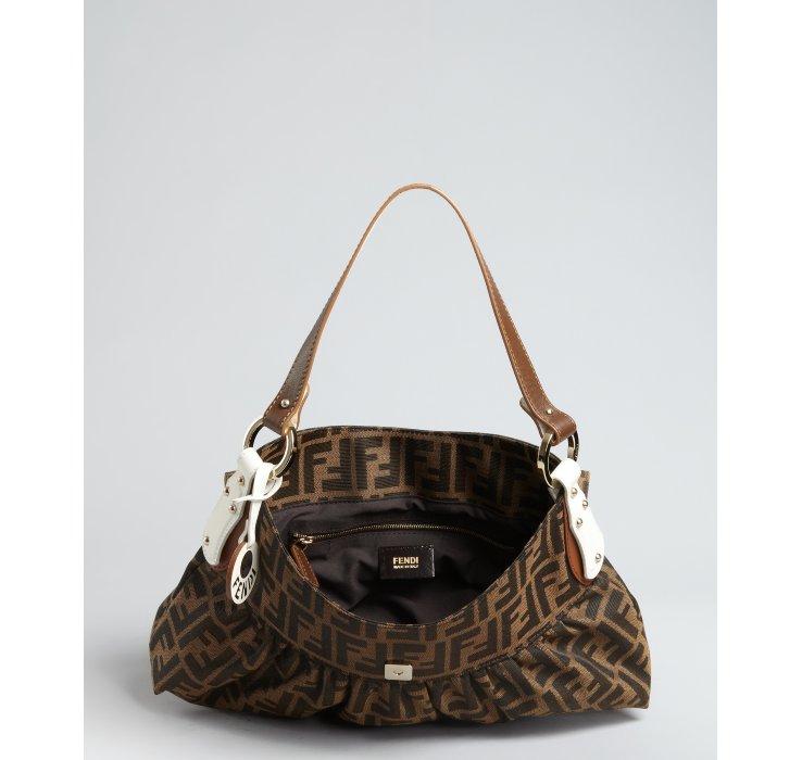 5ae350470a1 ... discount lyst fendi tobacco zucca canvas chef shoulder bag in brown  b039f bb86f