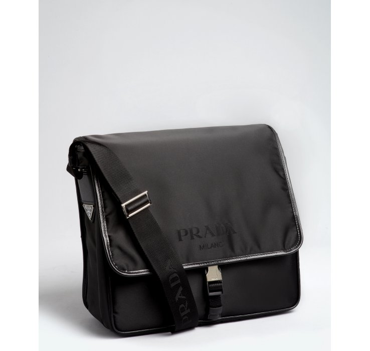 b57f63cbd9 ... italy lyst prada black nylon saffiano leather trim messenger bag in  80544 c87fb