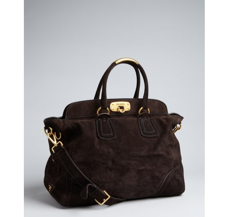 Prada Dark Brown Suede Cavallino Top Frame Bag in Black (brown) | Lyst