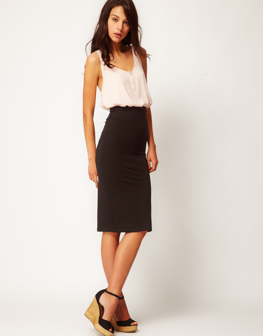 River island Midi Tube Skirt in Black | Lyst