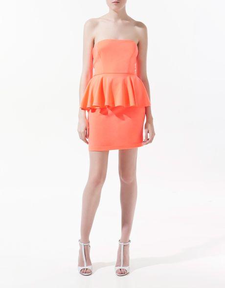 Zara Dress with Frill Around The Waist in Orange (coral) - Lyst