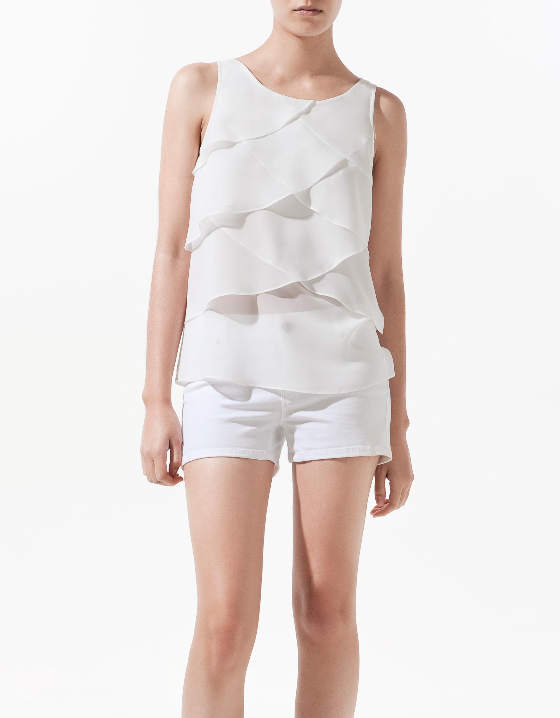 Zara Blouse With Transparent Frills 114
