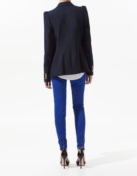Zara Blazer With Shoulder Detailing In Black Navy Lyst