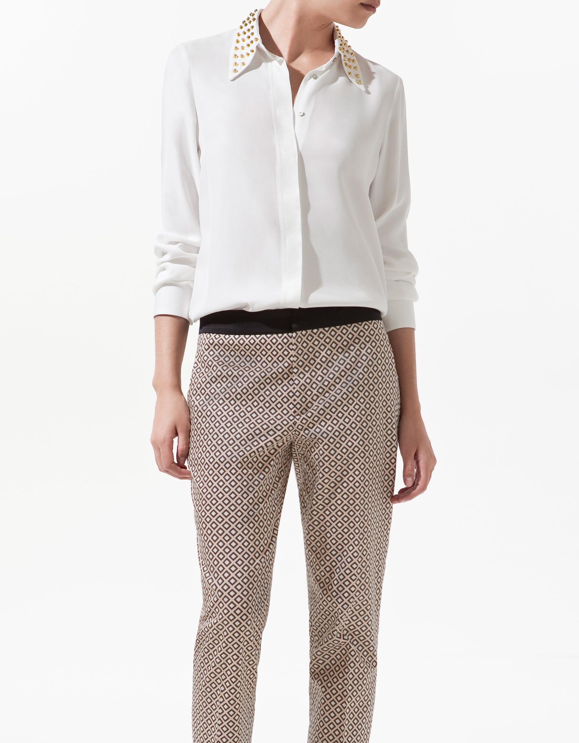 Zara White Studded Blouse 48