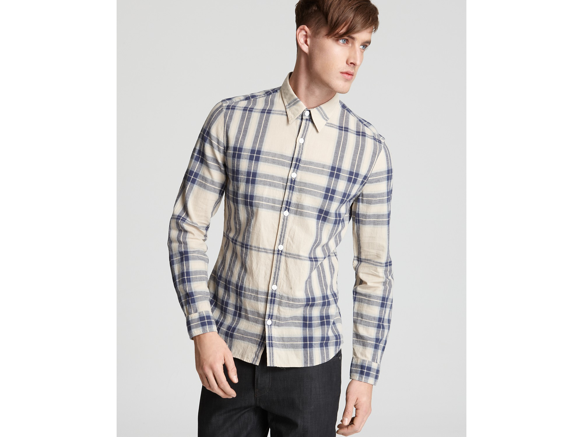 Burberry Brit Adken Plaid Woven Sport Shirt Slim Fit In