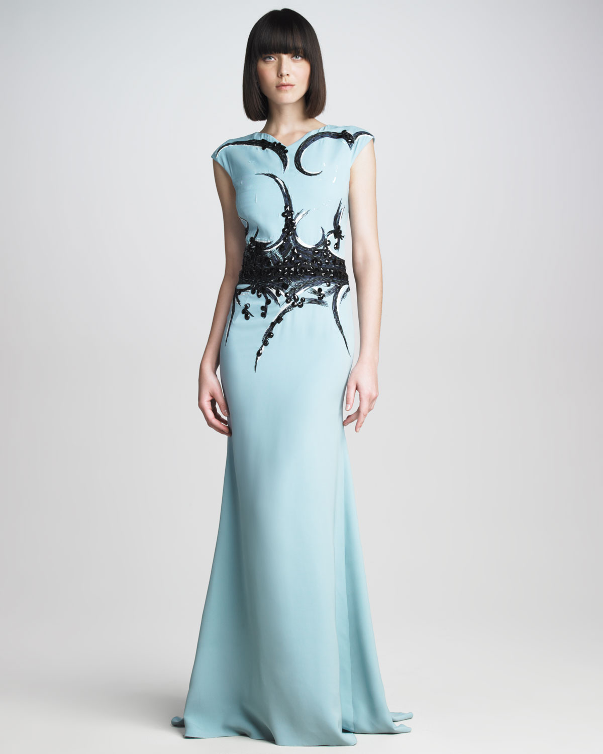 Lyst Carolina Herrera Embroidered Capsleeve Gown In Blue