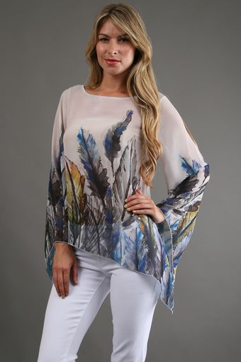 Ariella Print Boatneck Top in Feather - Lyst