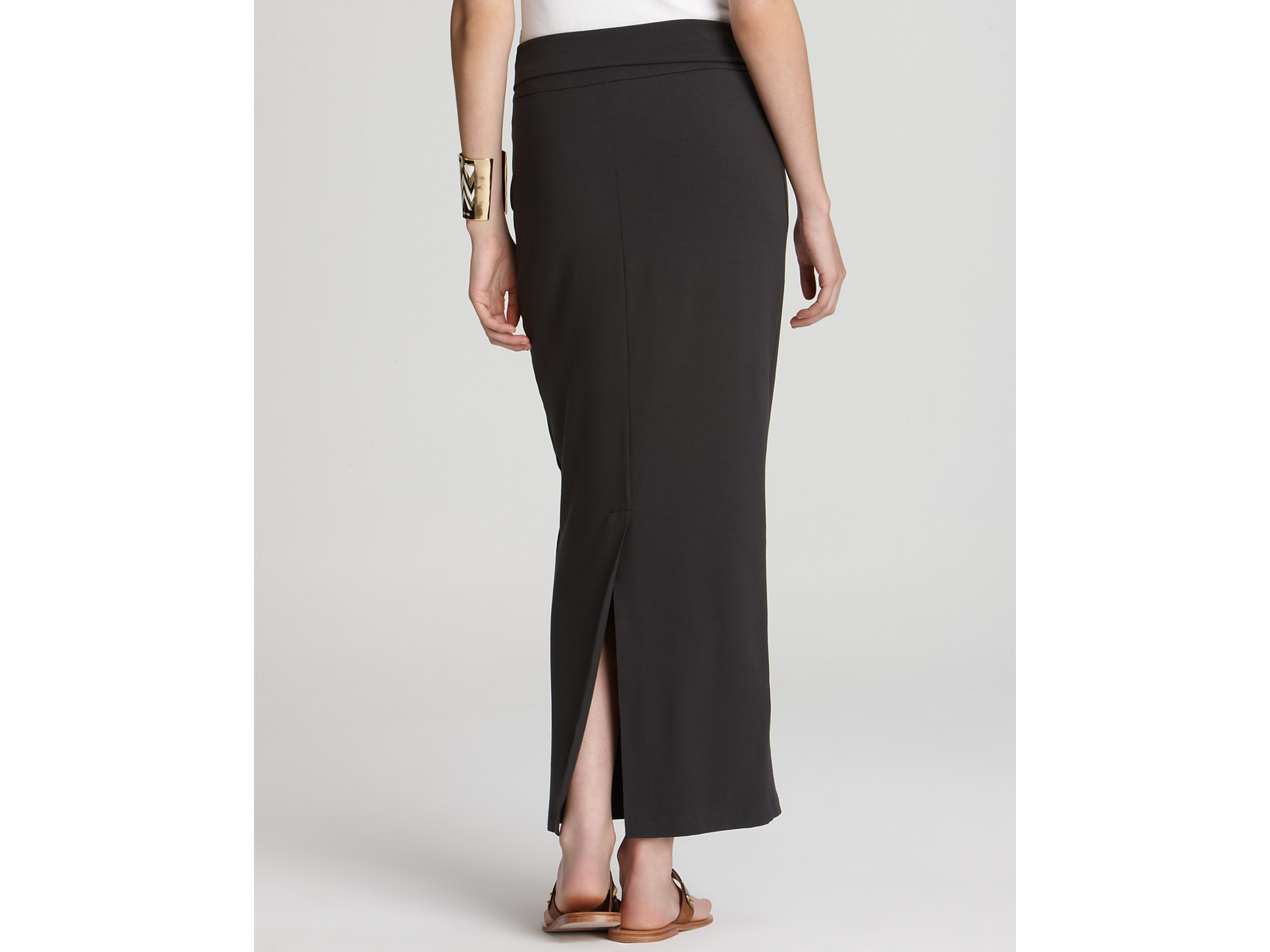 Eileen fisher Foldover Maxi Pencil Skirt in Black | Lyst