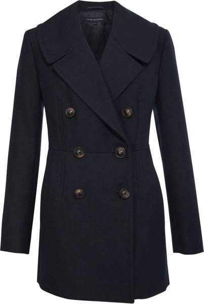 French Connection Arlo Wool Long Sleeved Pinch Waist Coat in Blue (navy)