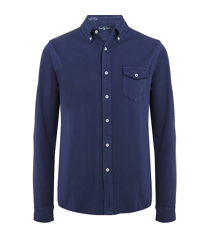 Polo Ralph Lauren Rugby Mesh Shirt In Blue For Men Navy
