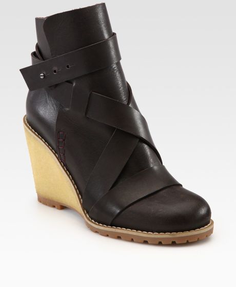 see by chlo 233 leather wedge ankle boots in brown lyst