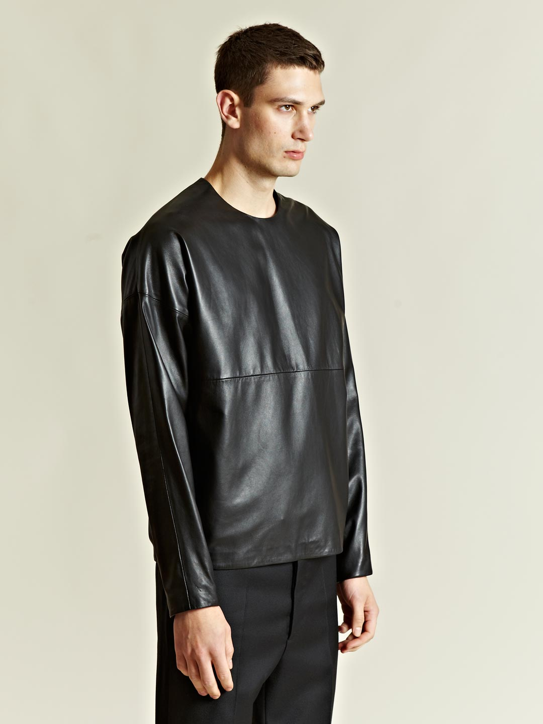 jil sander jil sander mens long sleeved leather top in. Black Bedroom Furniture Sets. Home Design Ideas