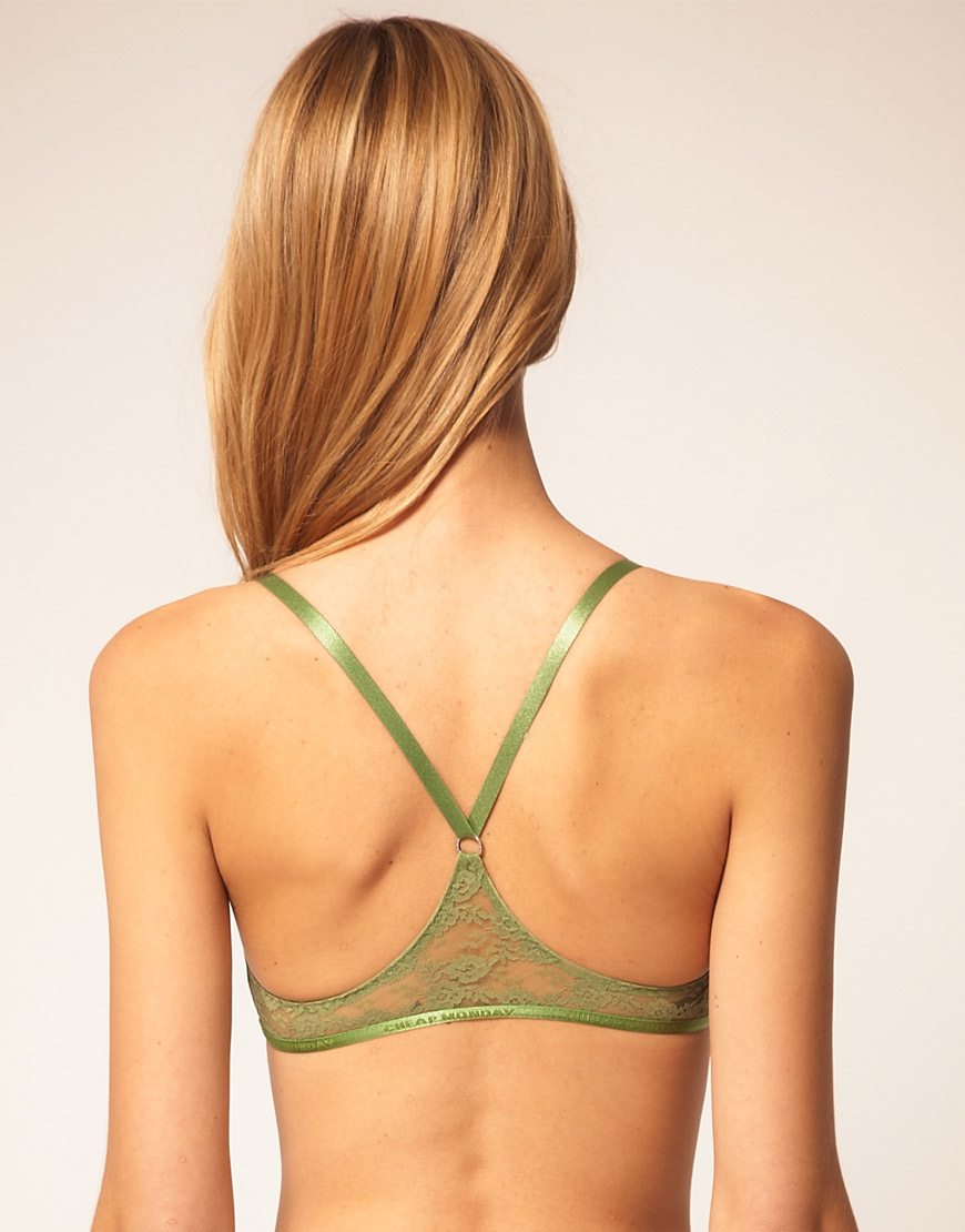 7faffa20c0c11 Lyst - Cheap Monday Lace Racer Back Bralette in Green