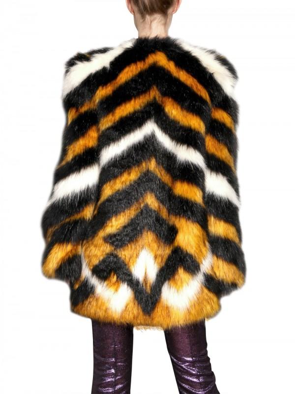 Lyst Meadham Kirchhoff Pam Tagon Striped Faux Fur Coat