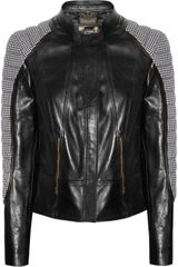 Versace Houndstooth Paneled Leather Jacket
