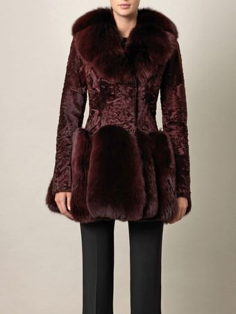 Alexander McQueen Astrakhan and Fox Fur Coat - Lyst