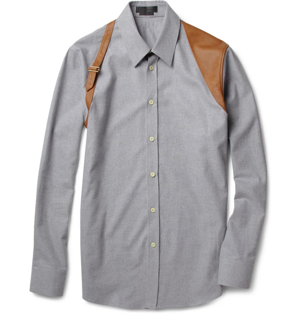 Alexander mcqueen slim fit flannel and leather harness for Alexander mcqueen shirt men