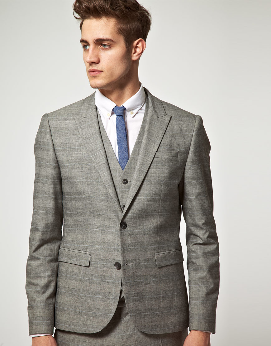 Asos Asos Slim Fit Check Suit Jacket in Grey in Gray for Men | Lyst