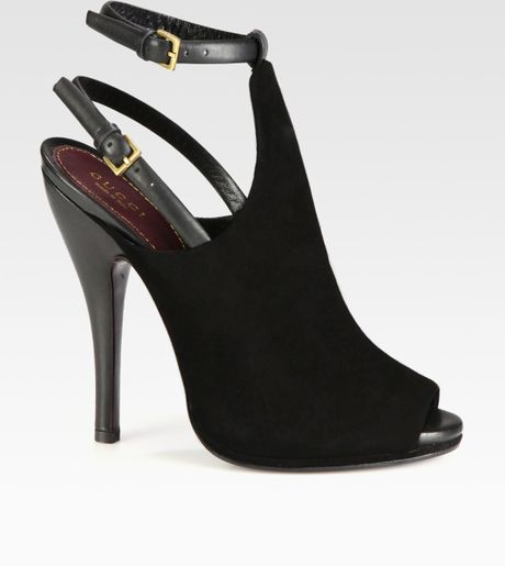 Gucci Jane Suede and Leather Platform Pumps in Black