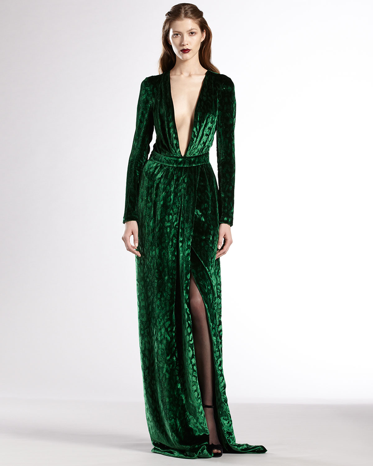 894c85e82a21a Gucci Velvet Deep Vneck Gown in Green - Lyst