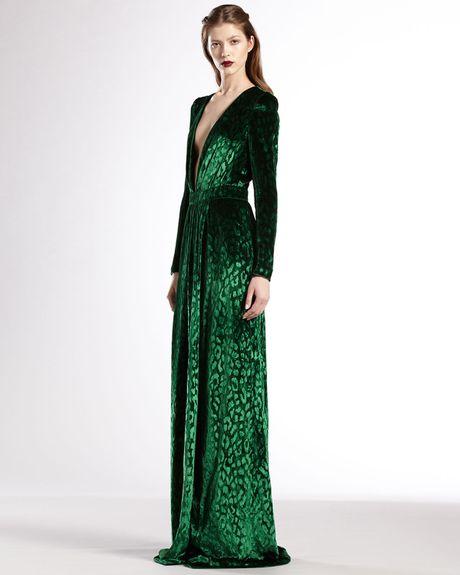 gucci velvet deep vneck gown in green