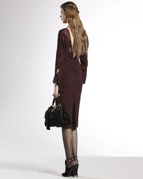 Gucci Deepv Sheer Silk Dress In Brown Wine Lyst