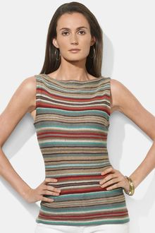 Lauren by Ralph Lauren Stripe Boatneck Sweater - Lyst
