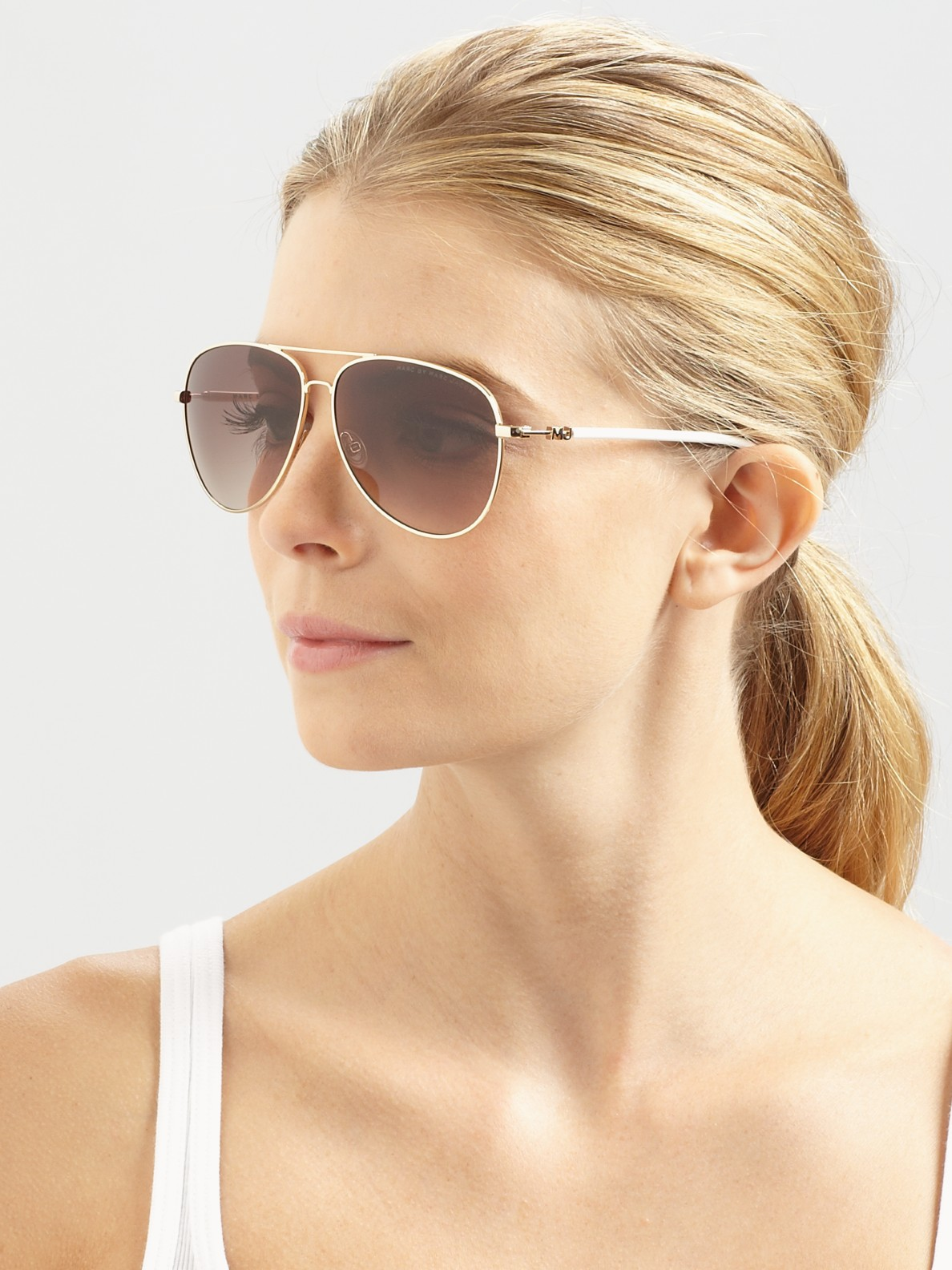 Marc Jacobs Aviator Sunglasses  marc by marc jacobs metal aviator sunglasses in metallic lyst