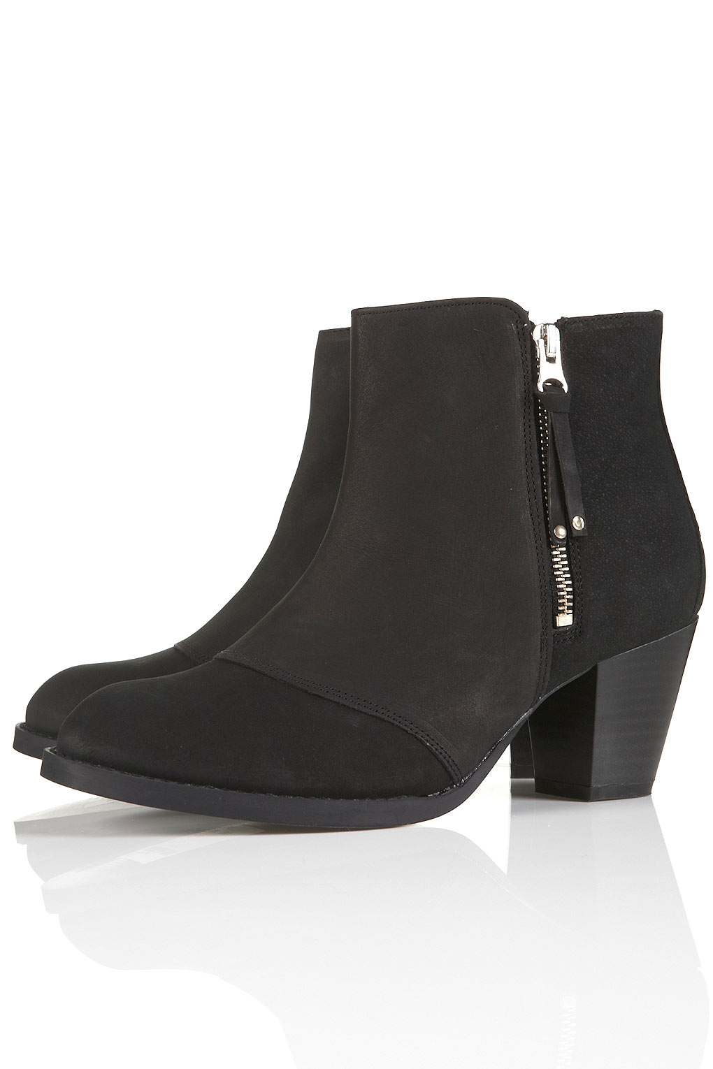 Topshop Mighty Black Leather Zip Boots in Black | Lyst
