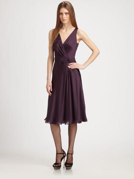 Ralph Lauren Black Label Faux Wrap Silk Dress In Purple