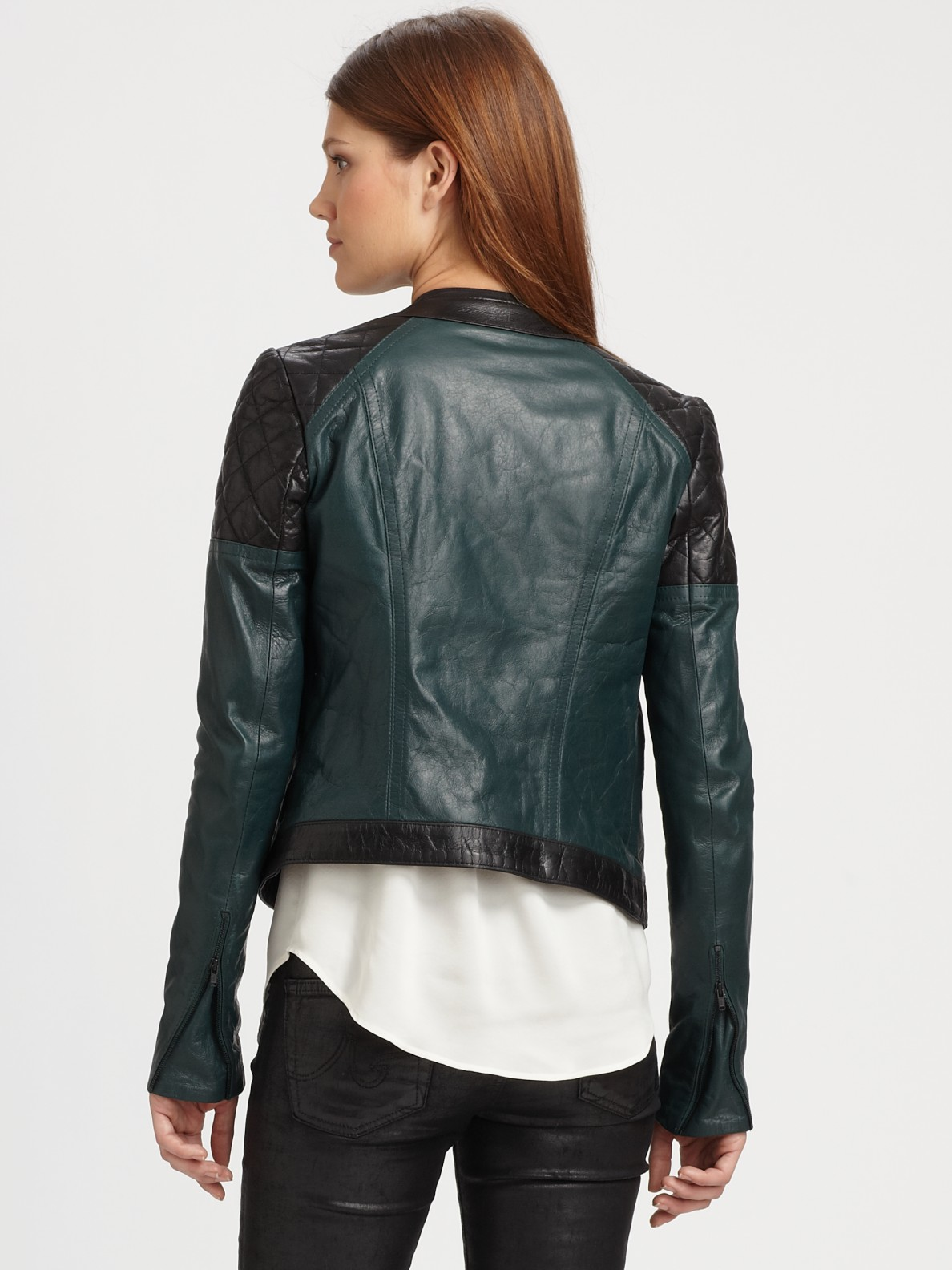 Theory Maisie Leather Jacket In Black Lyst