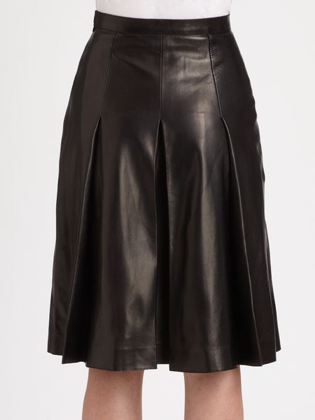 valentino pleated leather skirt in black lyst