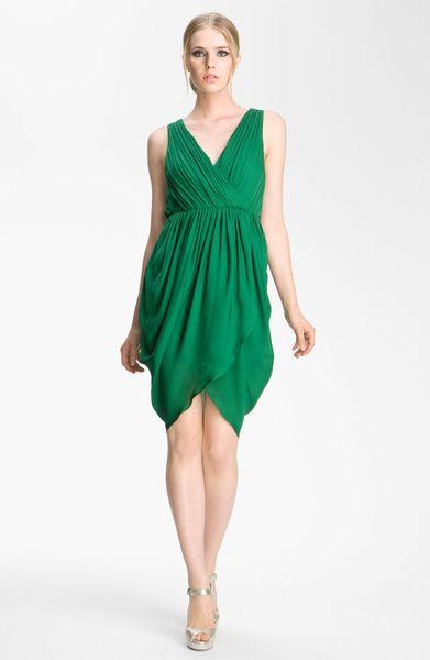 Alice + Olivia Marielle Draped Silk Sleeveless Dress in Green