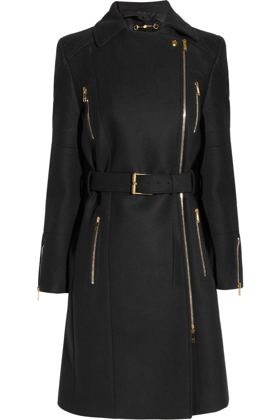Gucci Belted Wool Felt Coat In Black Lyst