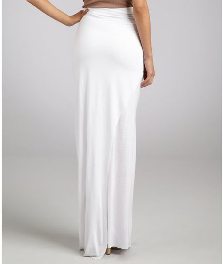 helmut lang white jersey twist side slit maxi skirt in
