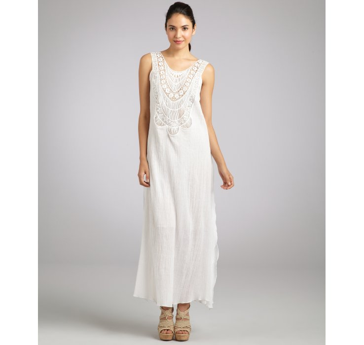 Miguelina White Cotton Gauze Leighanne Crochet Front Maxi Dress in ...