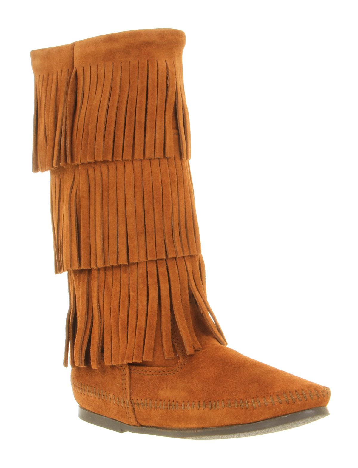 minnetonka calf hi layer fringe boot brown suede in brown