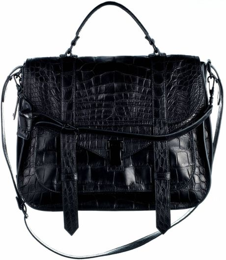 Proenza Schouler Ps1 Extra Large Crocodile Bag in Black - Lyst