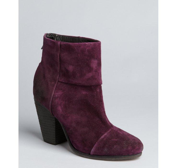 Lyst Rag Amp Bone Plum Suede Newbury Ankle Boots In Purple