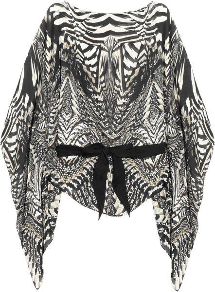 Roberto Cavalli Printed Silk Chiffon Top in Gray (white)