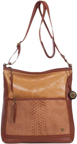 The Sak The Sak Iris Leather Crossbody Bag in Brown (yellow/ brown