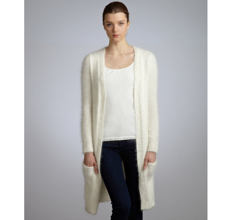 Theory Ivory Angora Blend Long Open Front Cardigan in White   Lyst