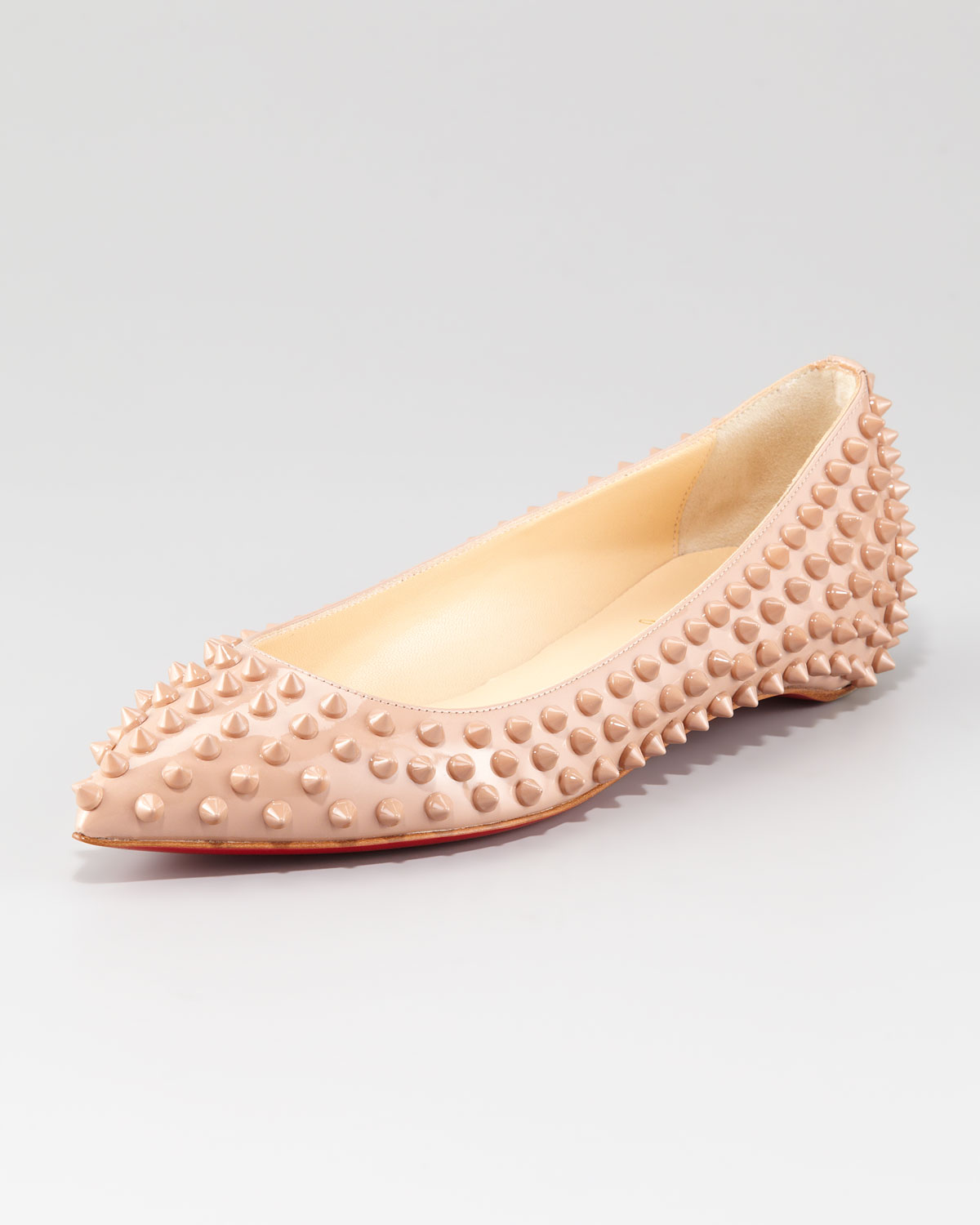 402556466a7d Lyst - Christian Louboutin Pigalle Spiked Skimmer Flat in Natural