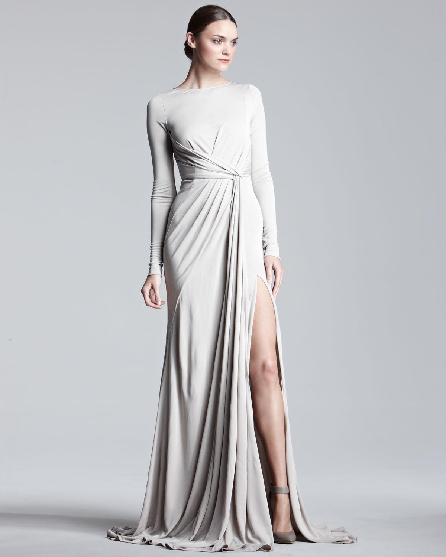 Elie saab Longsleeve Jersey Gown in Metallic | Lyst