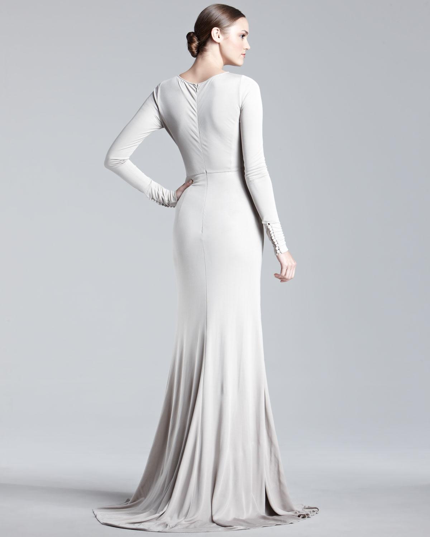 Lyst Elie Saab Longsleeve Jersey Gown In Metallic