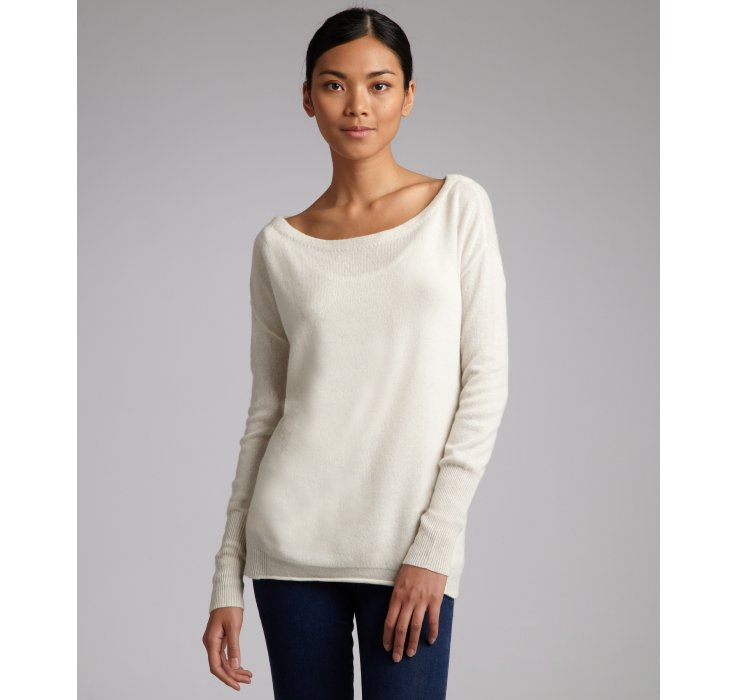 Inhabit Cream Cashmere Boatneck Sweater in Natural | Lyst