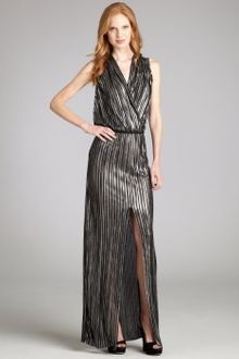 L'Agence Silver Stripe Pleated High Slit Sleeveless Maxi Dress - Lyst