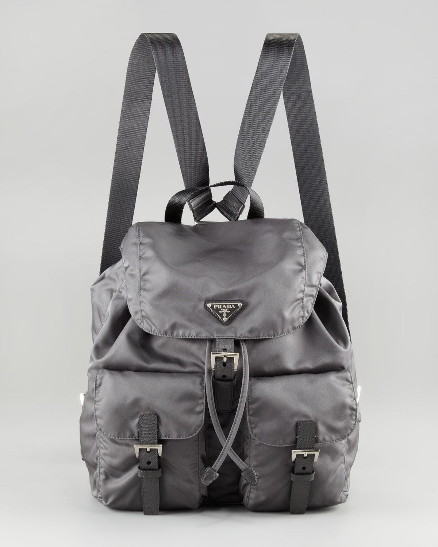 45506759c6 ... cheapest lyst prada vela nylon backpack in gray 1a309 047e6 switzerland  fashion prada nylon drawstring backpack bag outlet storeprada ...