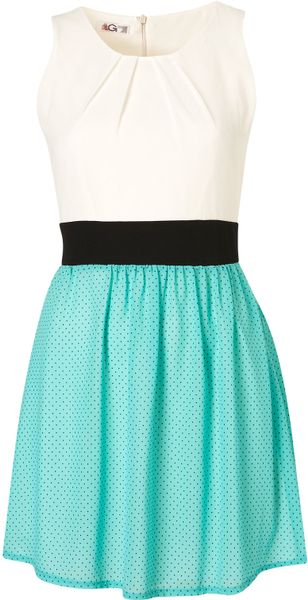 Topshop Polka Dot Dress B in Green (mint) - Lyst